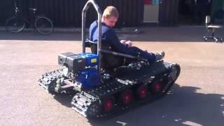 getlinkyoutube.com-Home made tracked vehicle, First test Drive