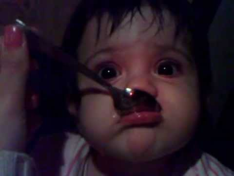 Cute baby in the car when hungry   جیگر خوشمزه