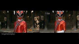 Power Rangers Super Samurai Lauren Shiba First Appearance Split Screen (PR and Sentai version)