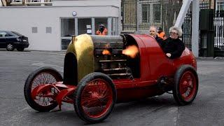 getlinkyoutube.com-Monstruous Fiat S76 with flammes! Rétromobile 2016