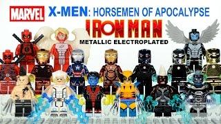 getlinkyoutube.com-X-Men Horsemen of Apocalypse & Electroplated Metallic Iron Man Armory Unofficial LEGO Minifigure Set