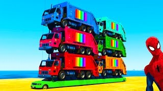 getlinkyoutube.com-COLORS Garbage TRUCKS on LONG CAR with Kids CARS and Superheroes with Spiderman Nursery Rhymes