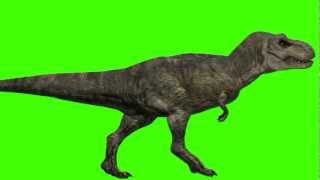 getlinkyoutube.com-JURASSIC PARK III Tyrannosaurus Velociraptor Green Screen HD T Rex Raptor animated in 3ds Max