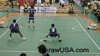 getlinkyoutube.com-Thailand Vs Laos : Sepak Takraw Doubles King's Cup 2008