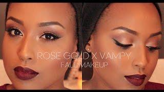 getlinkyoutube.com-Rose Gold Eye & Vampy Lip | Fall Makeup Tutorial