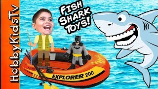 getlinkyoutube.com-Biggest SHARK WEEK EGG! Boat Fishing For Toys Adventure + Shark Imaginext Animal Planet HobbyKidsTV