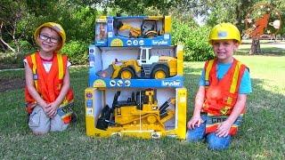 getlinkyoutube.com-Toy Truck Videos for Children - Toy Bruder Buldozer Tractor, Backhoe Excavator and Front Loader