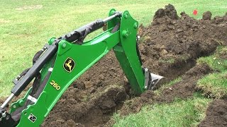 getlinkyoutube.com-John Deere 1025R 260 backhoe Dig Moat (trench) for our Princess
