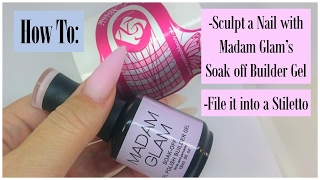 getlinkyoutube.com-How To | Sculpt and Shape a Stiletto Nail with MG buildergel in a bottle | NailsofNorway
