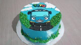 Hai Tayo! Cara Membuat Kue Ulang Tahun Tayo Tart Cake Sederhana width=