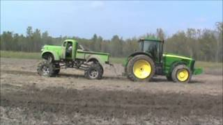 getlinkyoutube.com-Tug O War 1941 Chevy Mega Mud Truck vs John deere Tractor