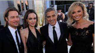 getlinkyoutube.com-Brad Pitt and Angelina Jolie, George Clooney and Stacy Keibler, and Cute Couples at the SAG Awards