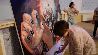 getlinkyoutube.com-Tokyo Ghoul - Kaneki [SpeedArt 3D Live Painting] By Nino Paichadze