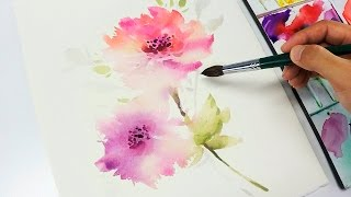 getlinkyoutube.com-[LVL3] Watercolor flower painting wet into wet