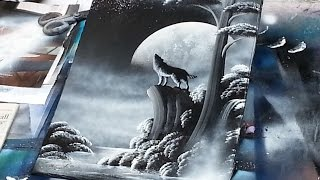 getlinkyoutube.com-spray paint art - Wolf and moon - made by street artist