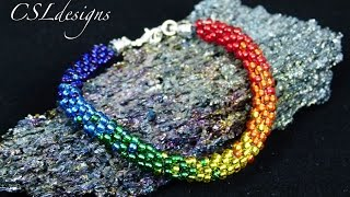 getlinkyoutube.com-Rainbow beaded kumihimo bracelet