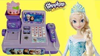 getlinkyoutube.com-Disney FROZEN Cash Register with Anna, Elsa, Num Noms, Shopkins TOY Surprises / TUYC