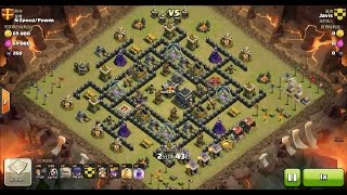 getlinkyoutube.com-Clash of Clans TH9 vs TH9 Golem, Wizard & Witch (GoWiWi) Clan War 3 Star Attack