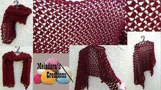getlinkyoutube.com-Offset shell crochet shawl - Crochet Tutorial