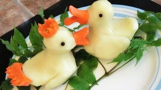 getlinkyoutube.com-How To Make Potato Rubber Ducks | Potato Art | Vegetable Carving Garnish