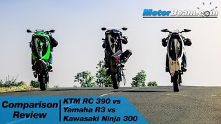 KTM RC 390 vs Yamaha R3 vs Kawasaki Ninja 300 - Comparison Review | MotorBeam