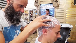 getlinkyoutube.com-Old School Italian Barber - Head shave with shavette, hot towel and massage  - ASMR intentional