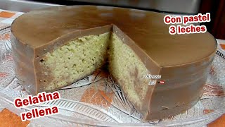 getlinkyoutube.com-Gelatina rellena de Pastel de 3 leches - GELAPASTEL de chocolate