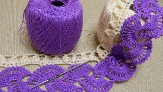 getlinkyoutube.com-Orilla # 14 Abanicos dos colores Crochet parte 1 de 2