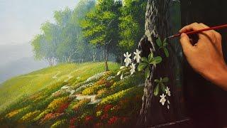 getlinkyoutube.com-Acrylic Landscape Painting Lesson - Garden and Orchids by JMLisondra