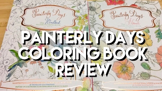 getlinkyoutube.com-Painterly Days Watercolor Books: Woodland and Flowers Adult Coloring Book Review, and Flipthrough