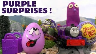 getlinkyoutube.com-Learn Colours Surprise Eggs Play Doh Thomas and Friends Inside Out Cars TMNT MLP Purple Colors