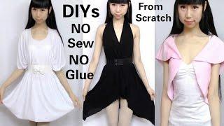 getlinkyoutube.com-3 DIY NO Sew&NO Glue Clothes from Scratch: DIY Dress + V-neck Asymmetrical Dress + Mini Top