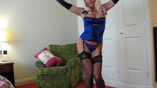 getlinkyoutube.com-Blue Satin & Stockings