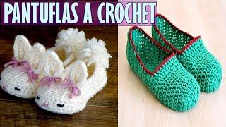 getlinkyoutube.com-Pantuflas o Babuchas Tejidas a Crochet