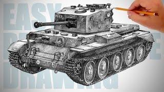 Jak narysować czołg (Cromwell) - Easy Perspective Drawing 27