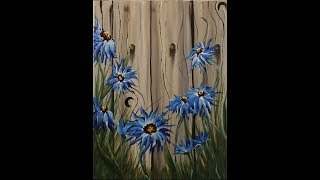 getlinkyoutube.com-Summer Flowers on the Fence Step by Step Acrylic Painting on Canvas for Beginners
