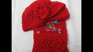 getlinkyoutube.com-Gorro con flor de crochet  1 parte aumentos