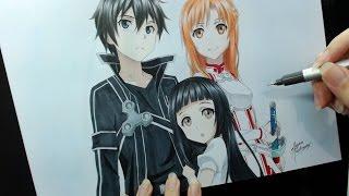 getlinkyoutube.com-Speed Drawing - Kirito, Asuna and Yui (Sword Art Online)