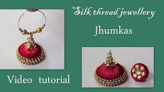 getlinkyoutube.com-Silk thread jewelllery Jhumkas making video