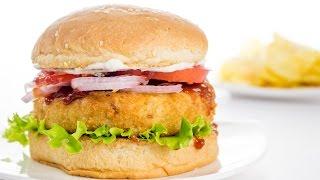 getlinkyoutube.com-Veggie Burger Recipe | Indian Style Veg Aloo Tikki Burger Recipe