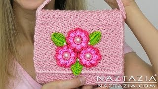 getlinkyoutube.com-DIY Learn How To Crochet Flower Purse Bag Clutch Handbag Wallet (and Line a Purse)