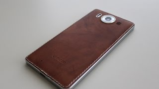 getlinkyoutube.com-Mozo leather cover for Lumia 950 Unboxing and Impressions