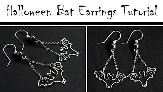 getlinkyoutube.com-Halloween DIY Jewelry : Wire Wrapped Bat Earrings Tutorial