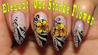 getlinkyoutube.com-Elegant nail art + One Stroke Flower video tutorial