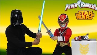 getlinkyoutube.com-Power Rangers Super Megaforce Vs Star Wars Darth Vader Stealing The Legendary Morpher Ckn Toys