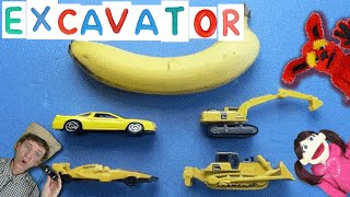 getlinkyoutube.com-Learning Yellow Color with Cars, Trucks | First Words 8 EXCAVATOR | Learn English Kids Matt VS Truck