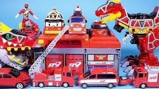 getlinkyoutube.com-Fire station car toys Robocar Poli Tayo bus TOBOT fire car