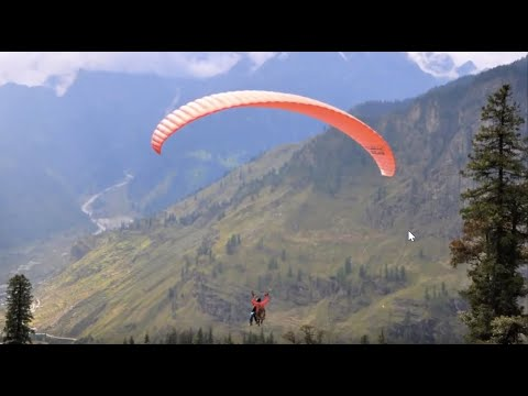 HD Paragliding in the Indian Himalayas. North of Manali, Himachal Pradesh.