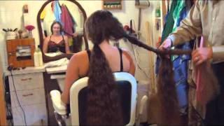 getlinkyoutube.com-preview clip of Nikki's Bob Haircut - Exttremely Long Hair to Short