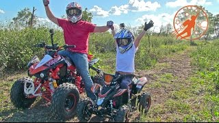 getlinkyoutube.com-Father & Son Adventure Time Unboxing and Riding Adult & Kids Ride On ATV 4 Wheelers at The  Farm